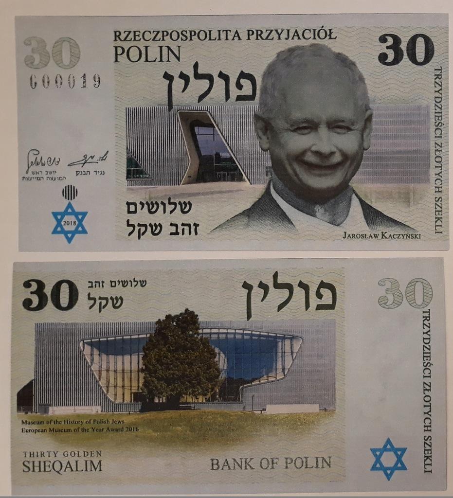 30 złotych szekli POLIN - Jarosław Kaczyński - 8137135030 - oficjalne  archiwum Allegro