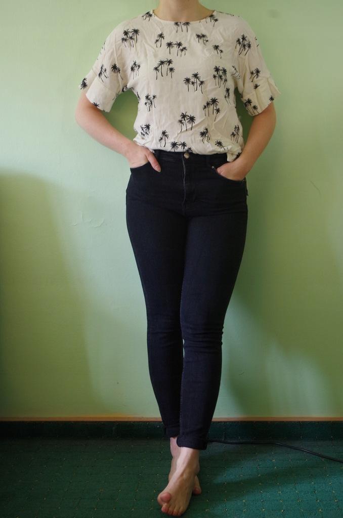 spodnie czarne jeansy rurki zara S36 wysoki stan