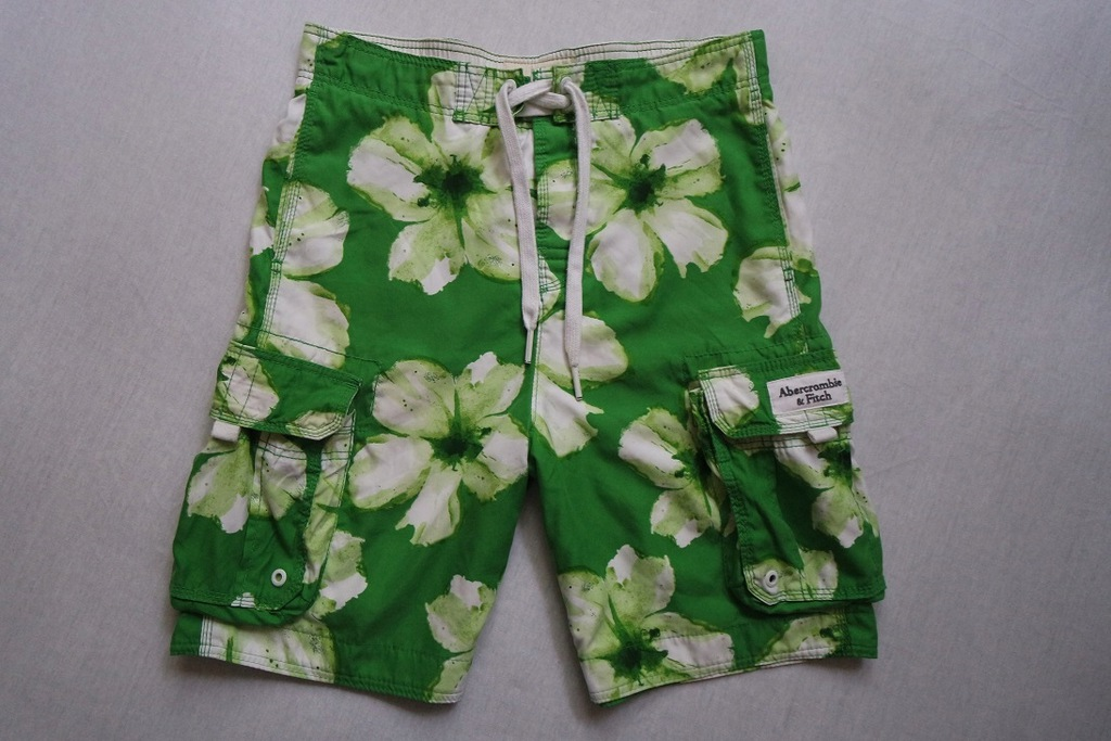 ABERCROMBIE FITCH spodenki zielone kwiatki logo__M