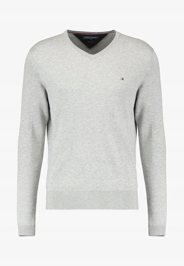 Sweter Męski Tommy Hilfiger Szary V-Neck / XXL