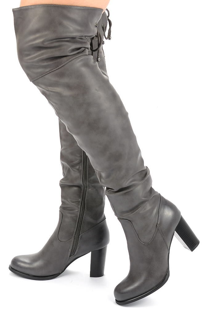 Mega długie kozaki damskie buty SZARE Ae994 36