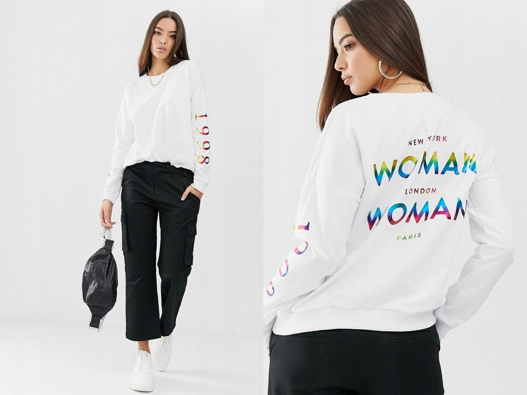 Boohoo - Biała bluza z napisem Woman XS/34