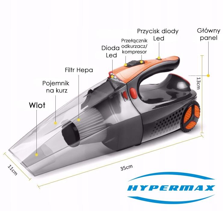 odkurzacz kompresor samochodowy hepa 12v