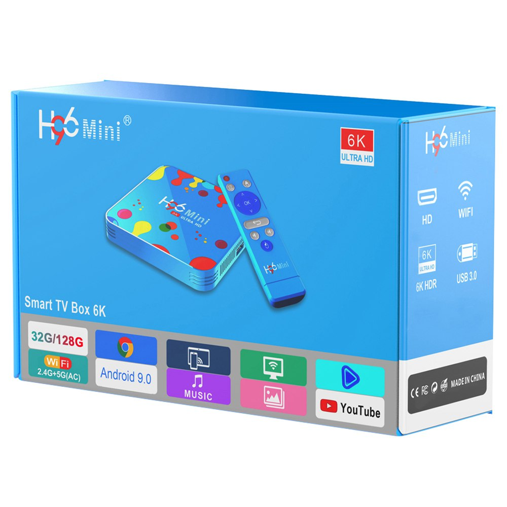 H96mini H6 Smart TV Box 4/32GB 6K Android 9 5G