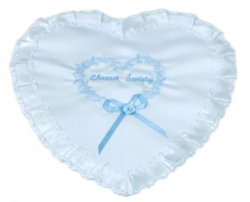 SZATKA do chrztu serduszko niebieski haft kokarda