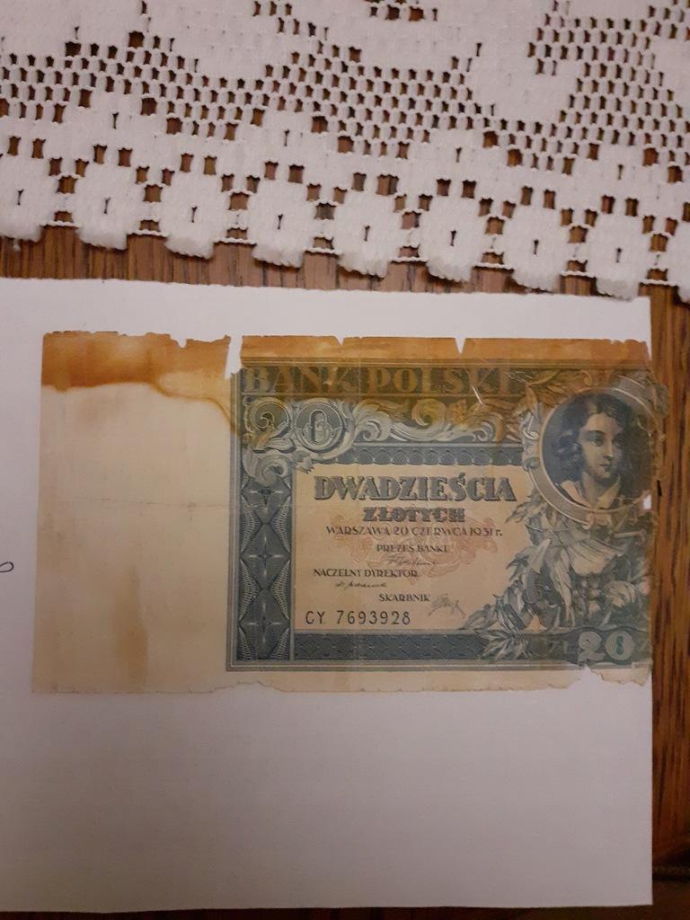 Banknot 20 zł z 1931r.