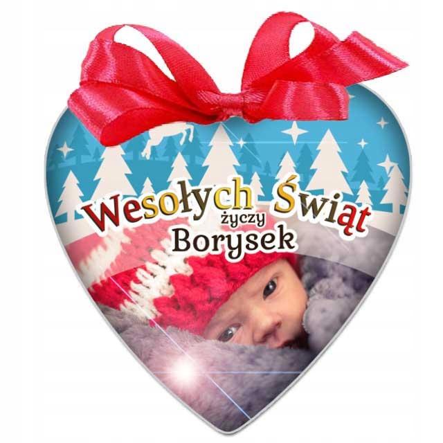 BOMBKA ze zdjęciem Serce na prezent pod choinkę