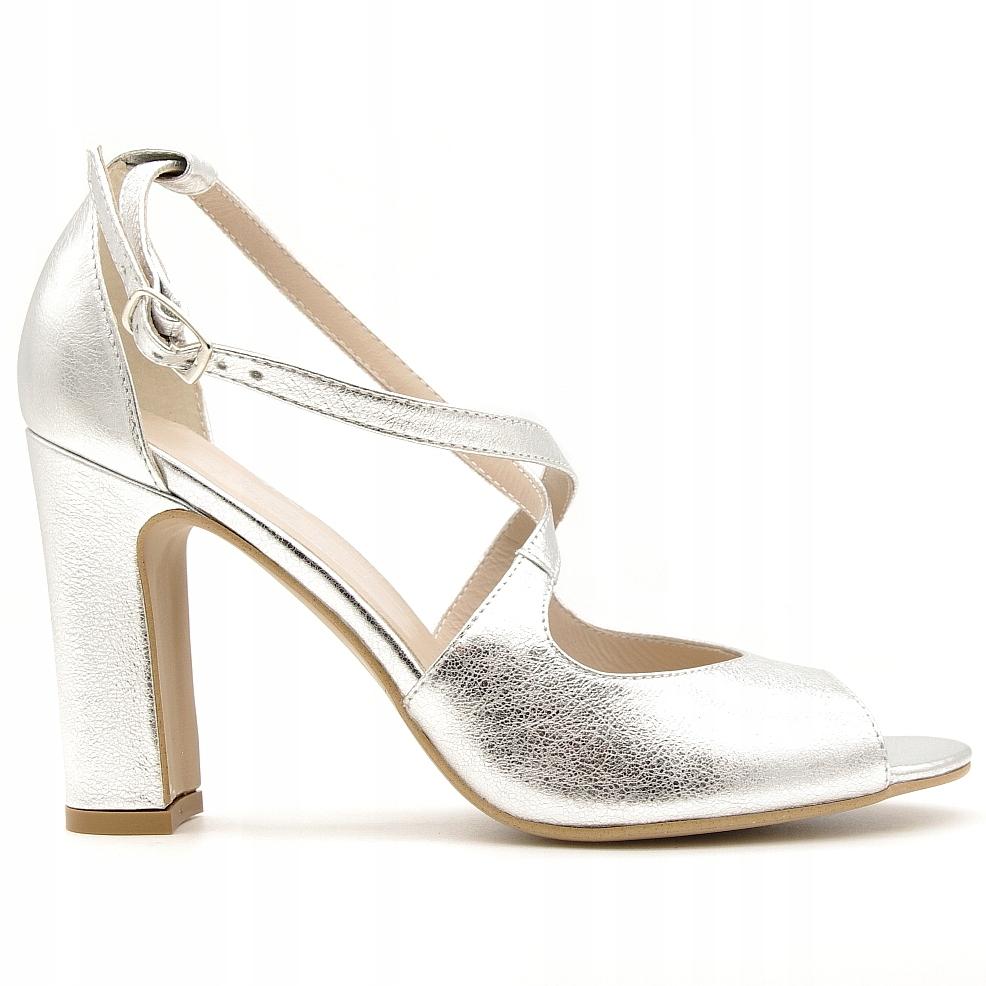 Buty Kotyl 37 srebrne sandały słupku na paski 5905