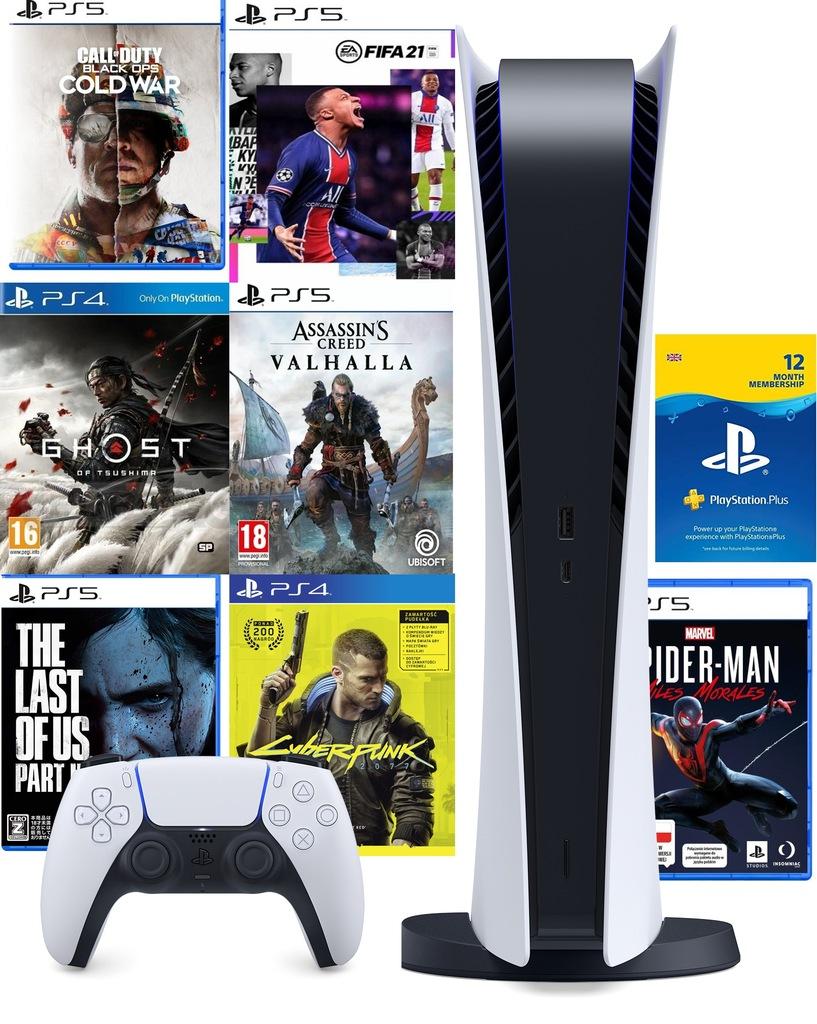 PlayStation 5 Digital Edition + 7 GIER + 1rok Ps+