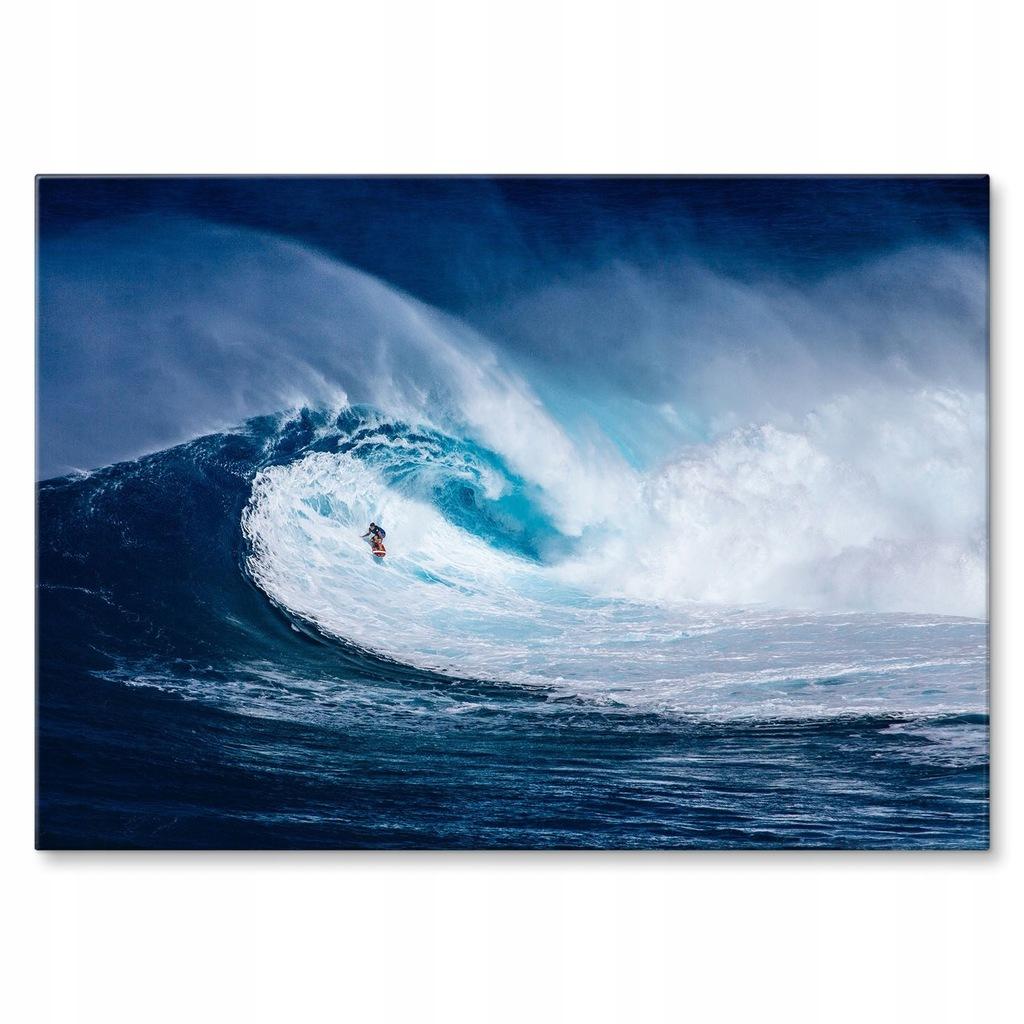 Plakat metalowy Wielka fala i surfing Prezent L