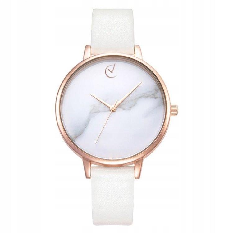 Zegarek damski classy marmur na pasku różowe złoto