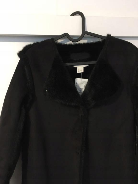 Płaszcz kożuch futerko czarny 34 hm
