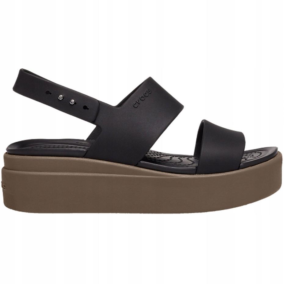 Crocs sandały damskie Brooklyn Low Wedge W brązowe