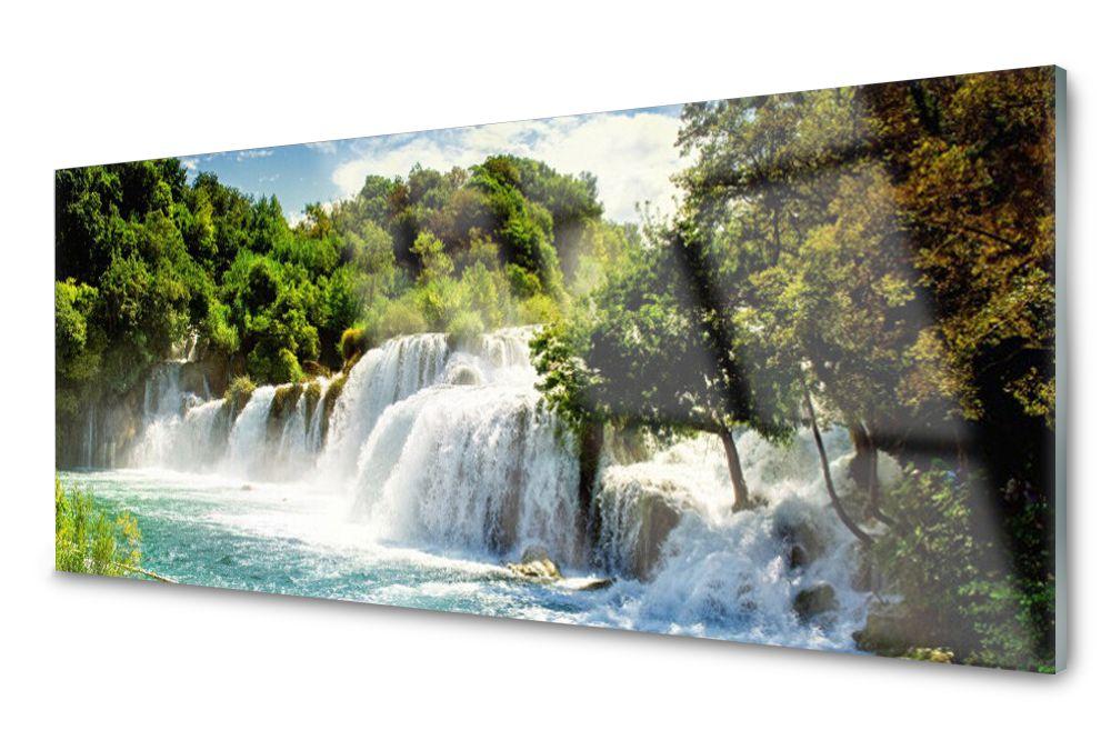 Lacobel Panel Szklany Ścienny Wodospad Las 120x60