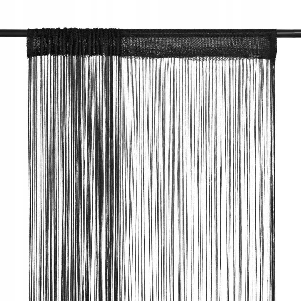 Czarne Zasłony Sznurkowe 2 Sztuki 100 x 250 cm