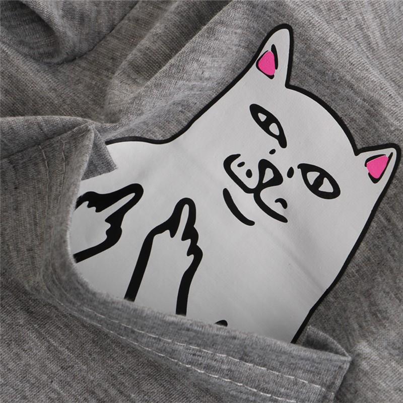 Modny T Shirt Kot Fuck W Kieszeni Kolory Koszulka 7254761397 Oficjalne Archiwum Allegro