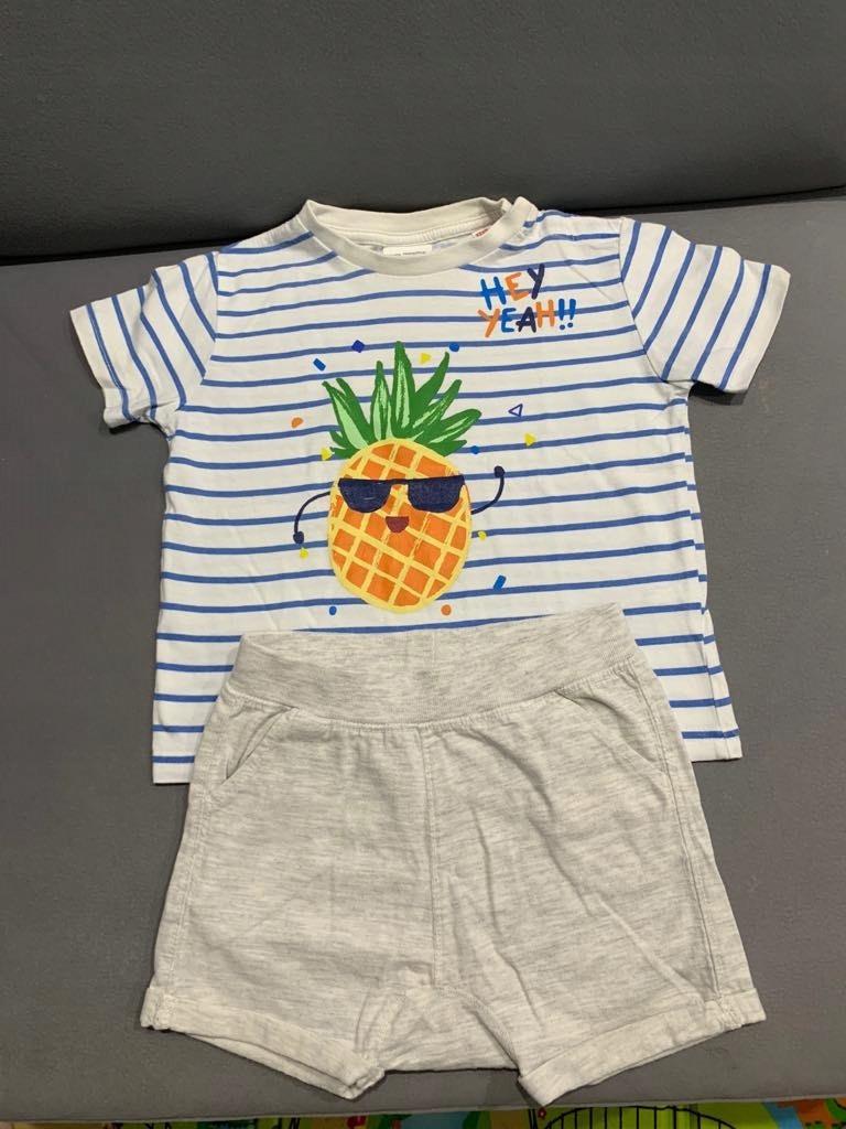Zara zestaw Koszulka + Spodenki krótkie 86 ananas