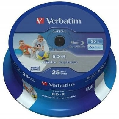 Płyta BluRay BD-R 25GB 6x VERBATIM PRINTABLE 25SZT