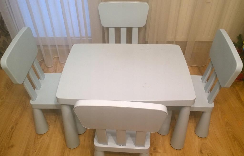 IKEA zestaw Mammut 4 x krzesełko + stolik błękitny