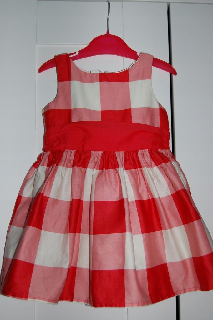 NEXT piękna sukienka krata kokarda 3 lata