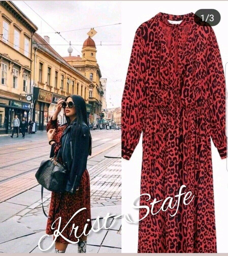 ZARA czerwona sukienka w panterkę wiązanie L
