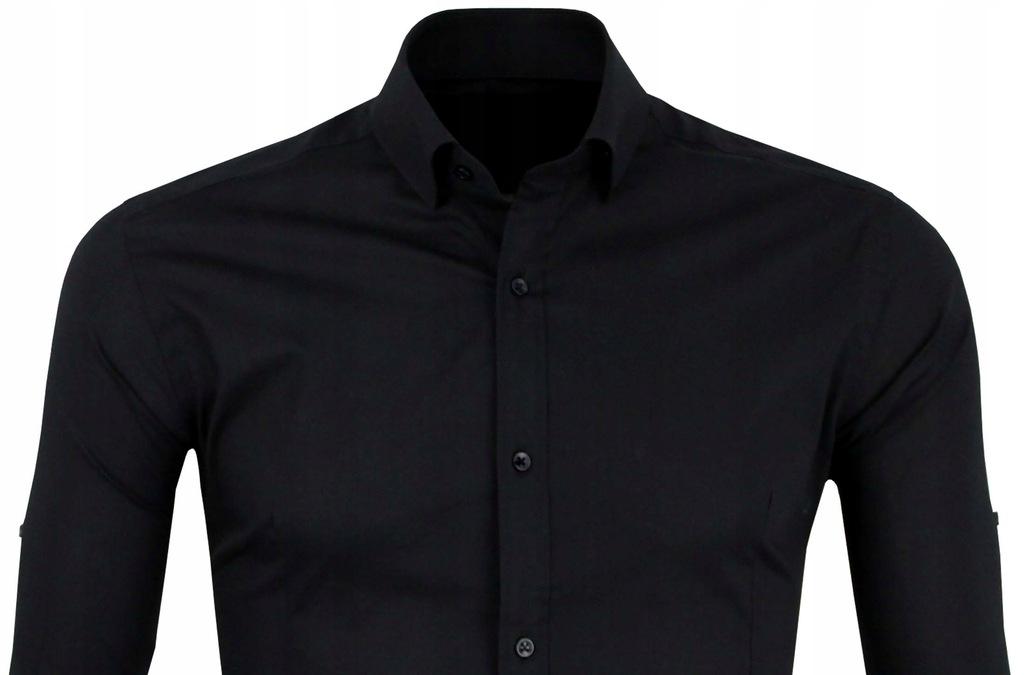 Czarna Koszula Bawełniana Długi r. Slim Jakość L