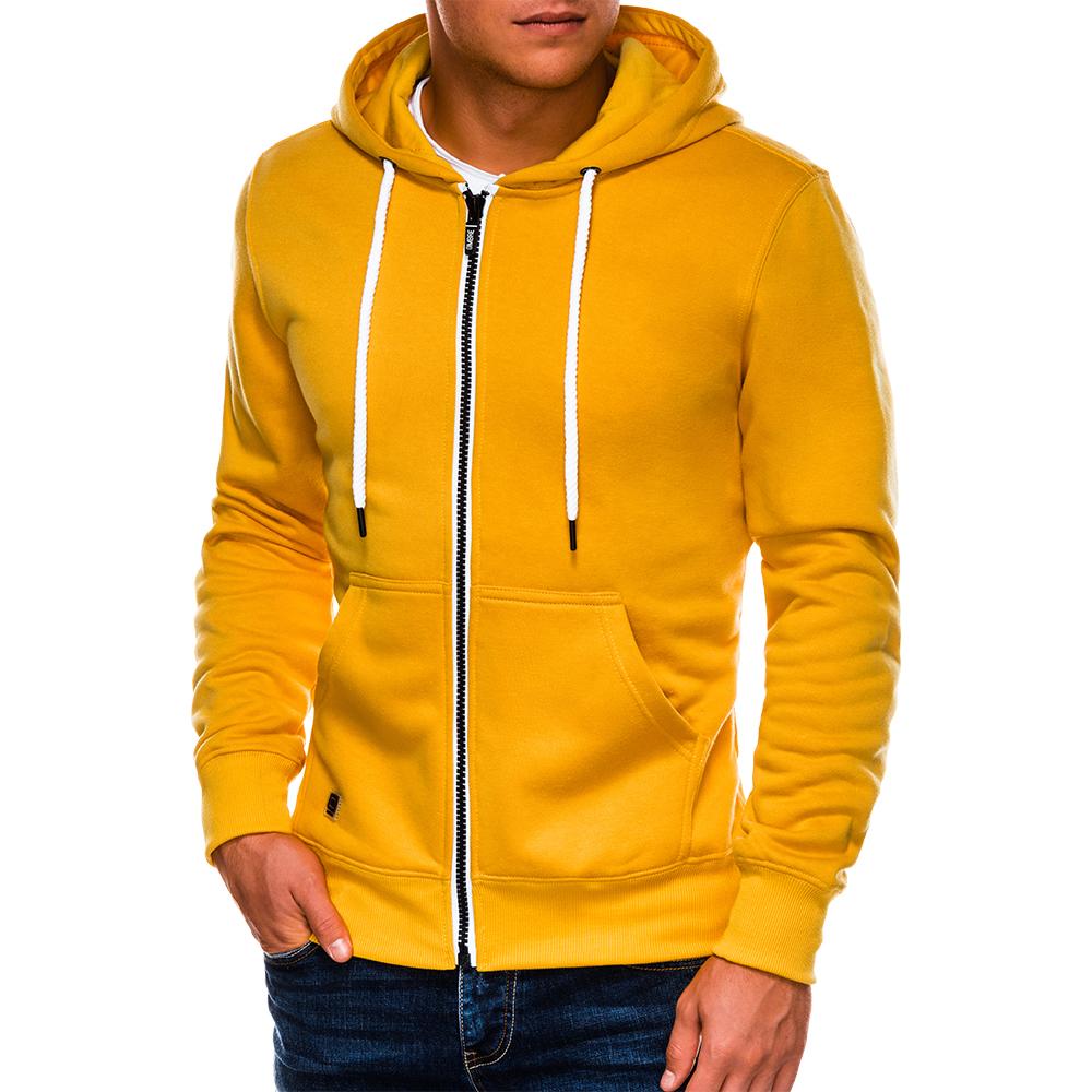 Bluza męska rozpinana z kapturem B977 żółta M