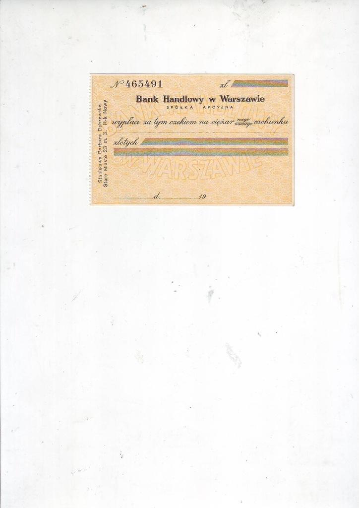 Bank Handlowy czek przedwojenny