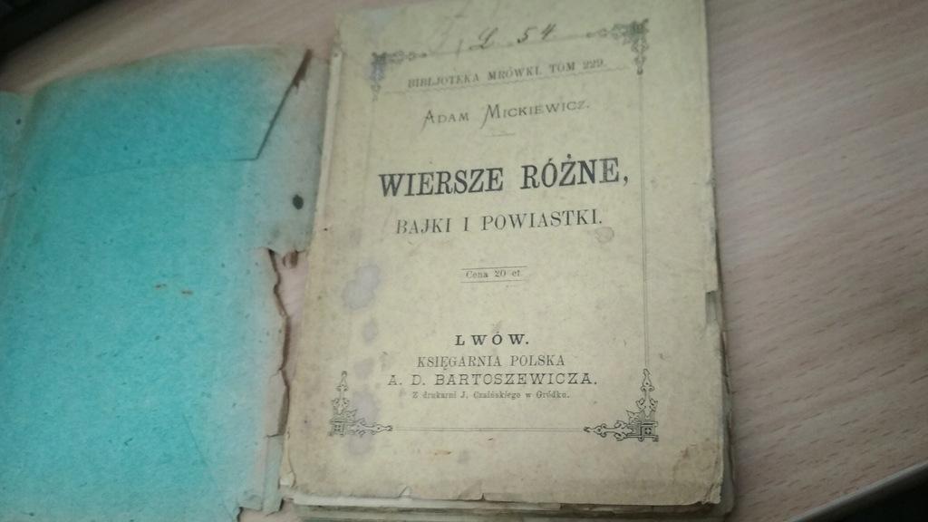 Mickiewicz Wiersze Różne I Bajki1890 Bibli Mrówki