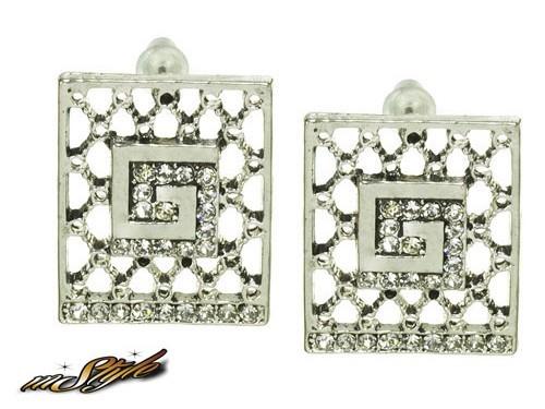 Ażurowe z cyrkoniami w kolorze srebra