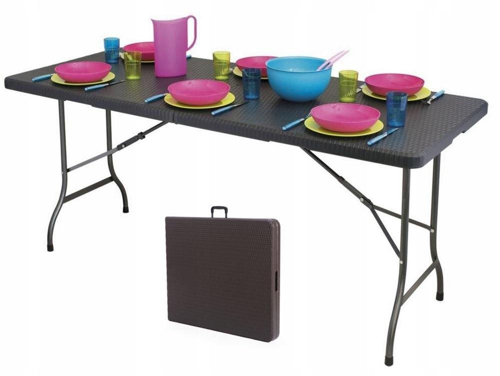 Stół cateringowy bankietowy ogrodowy 180cm ratan G