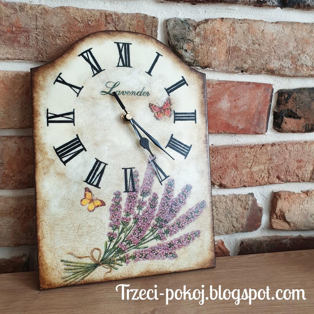 Zegar lawendowy rękodzieło