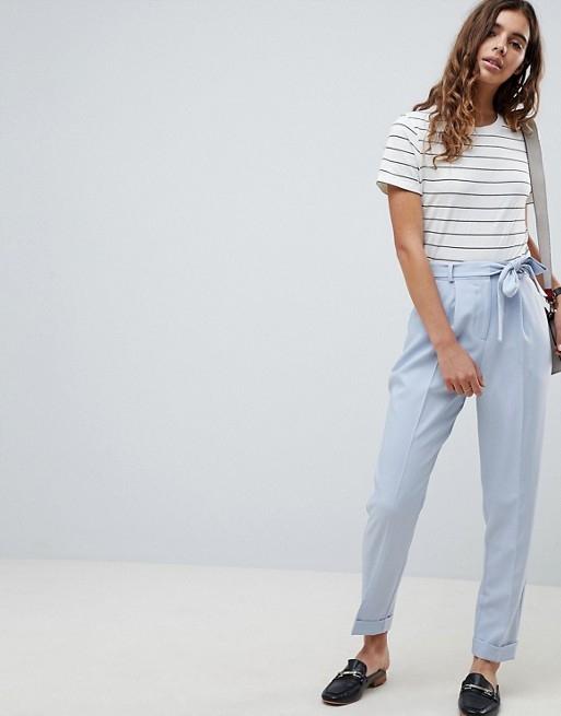 B586 niebieskie spodnie wiązane 34