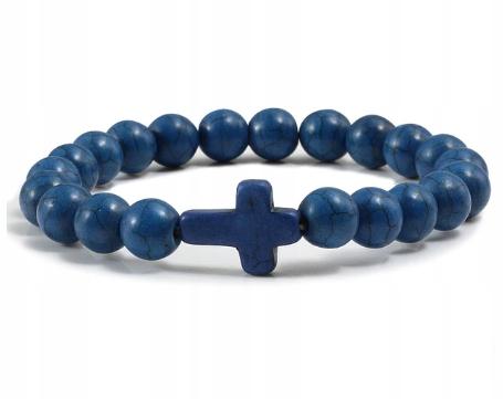 BRANSOLETKA Z KRZYŻEM niebieska kamień naturalny