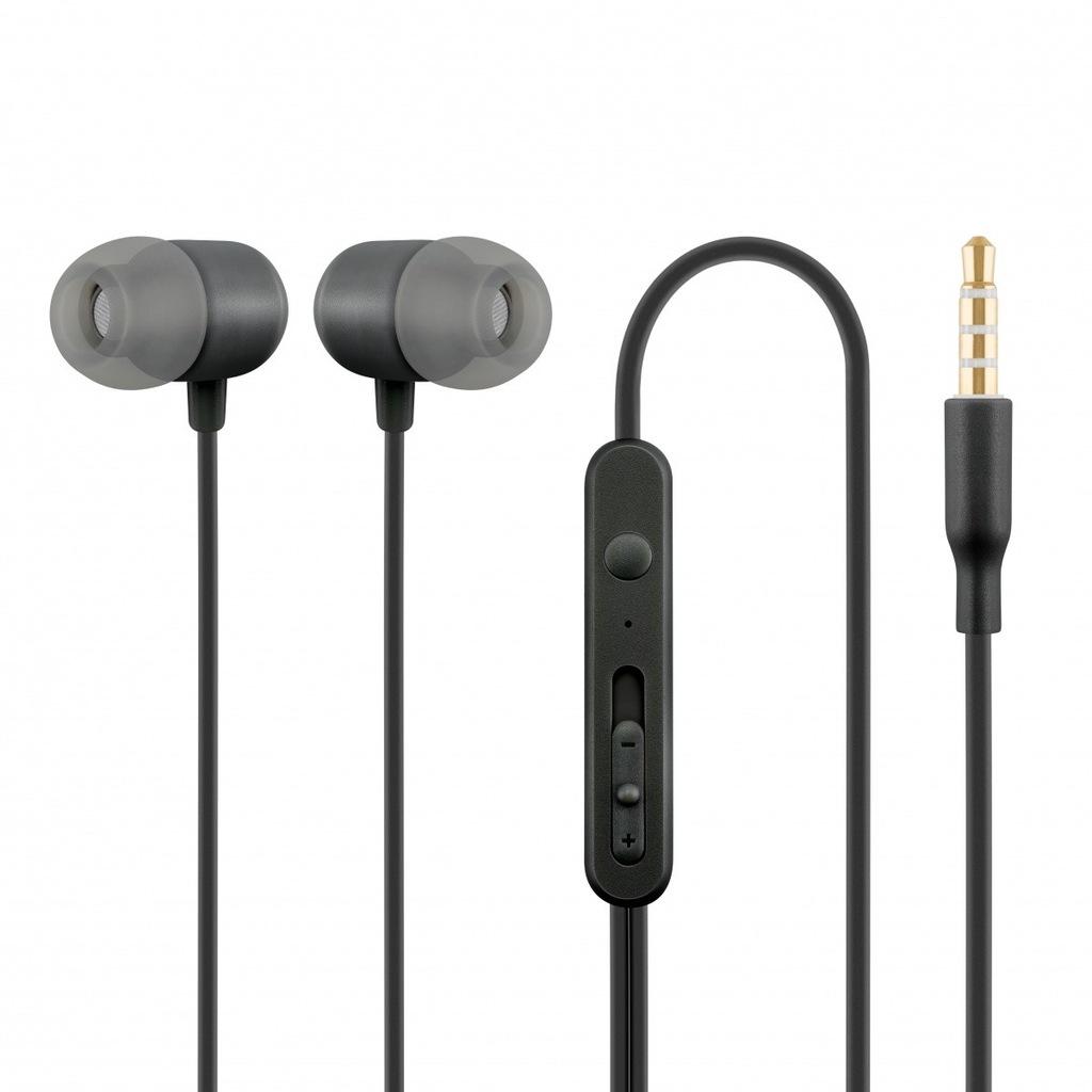 Słuchawki z mikrofonem douszne czarne HE21