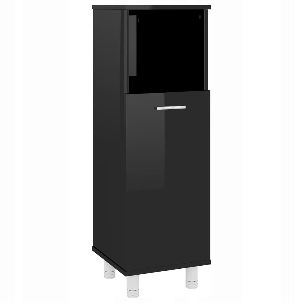 Szafka łazienkowa, wysoki połysk, czarna, 30x30x95