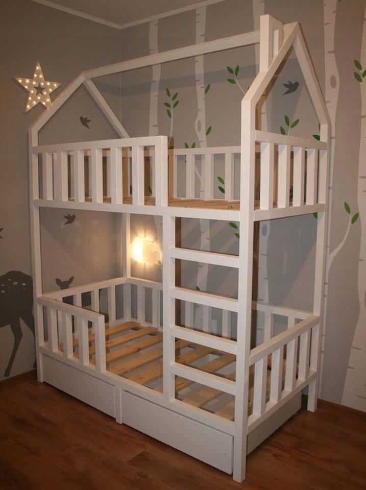 Łóżko domek Piętrowe drewno sosna buk skandynawski