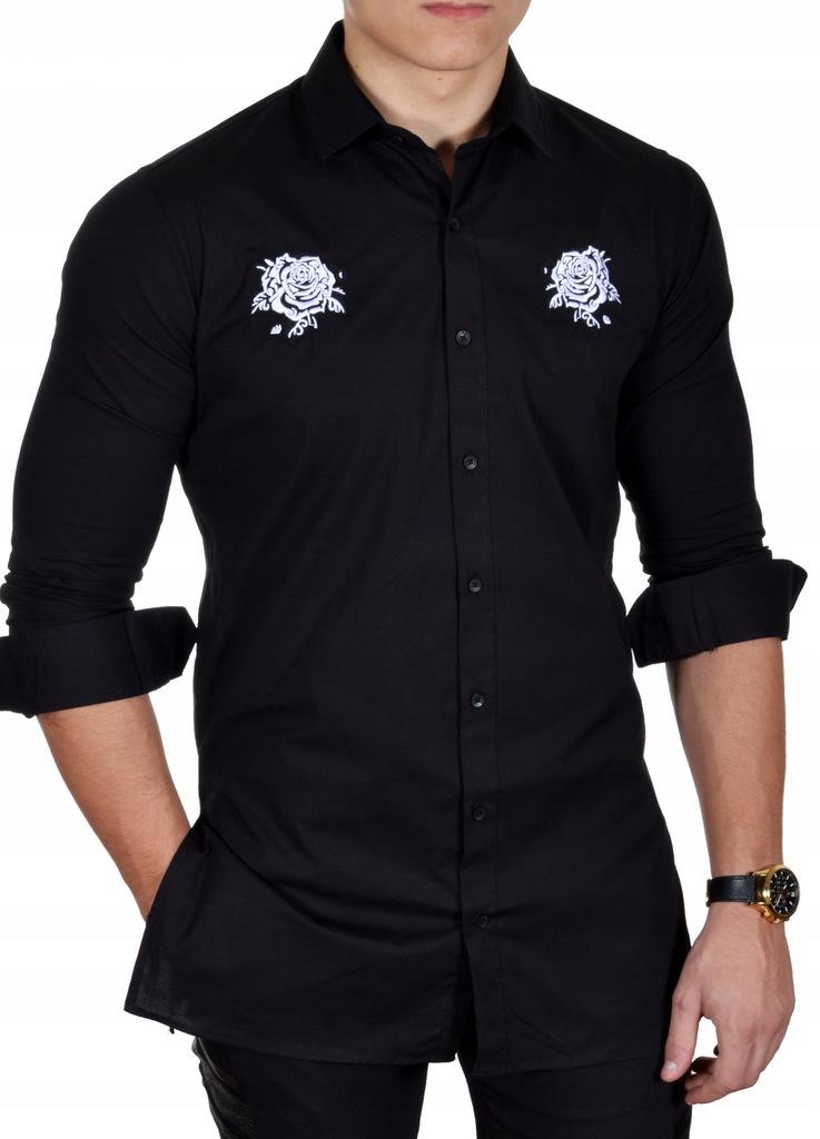 Koszula Męska Casual Przedłużana Wyszywana Nowość  Q1WC7