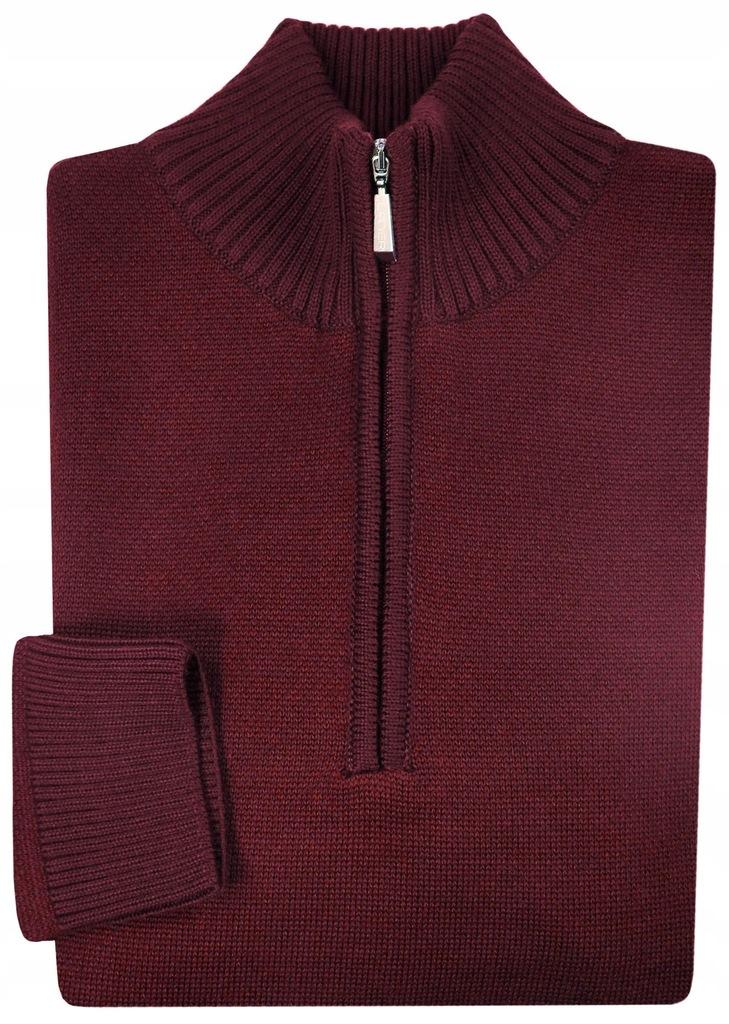 Bordowy sweter męski rozpinany pod szyją SW21 XL