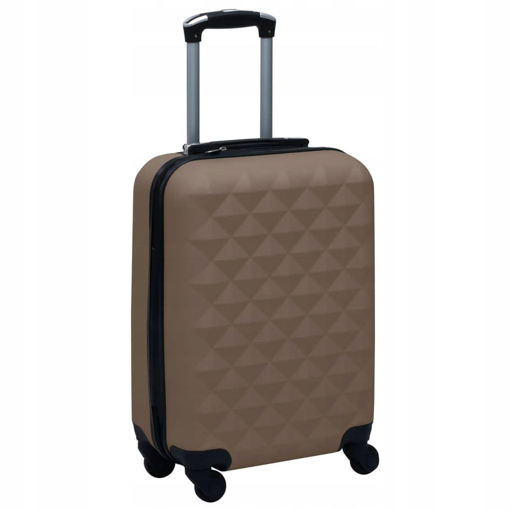 Twarda walizka na kółkach, brązowa, ABS