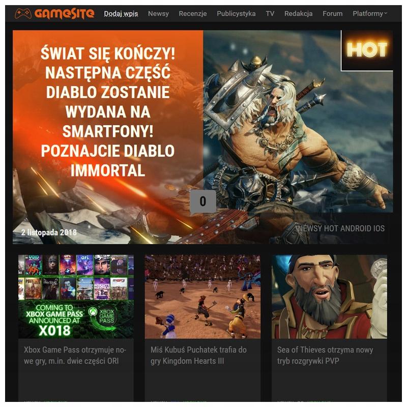 GameSite.pl PORTAL BLOG SERWIS O GRACH PC PS4 XBOX