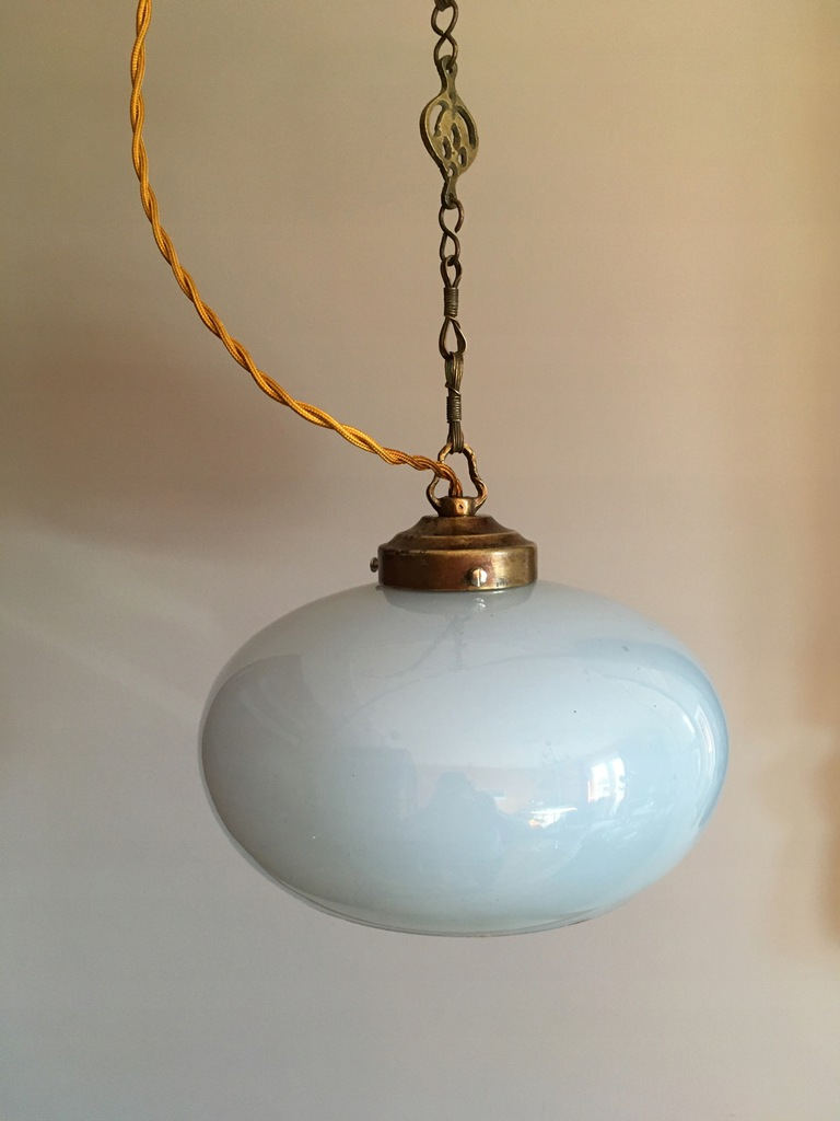 Lampa zwis stary klosz Art Deco
