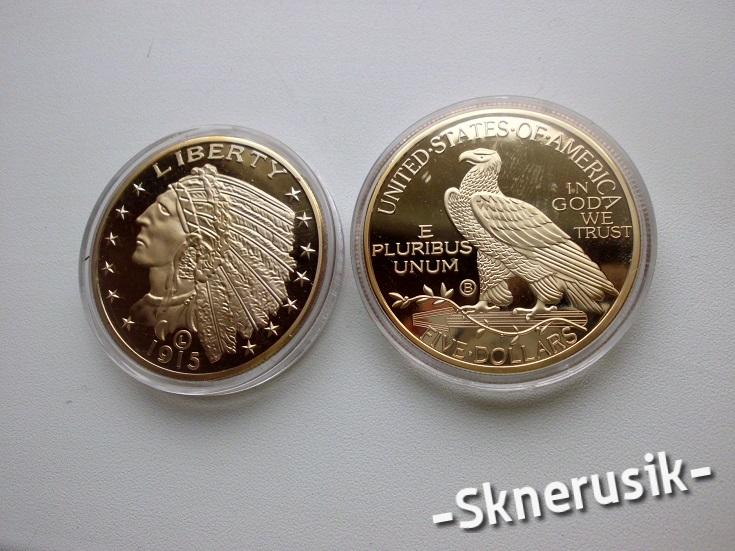 1915 Liberty indianin - pozłacana 24 k złotem