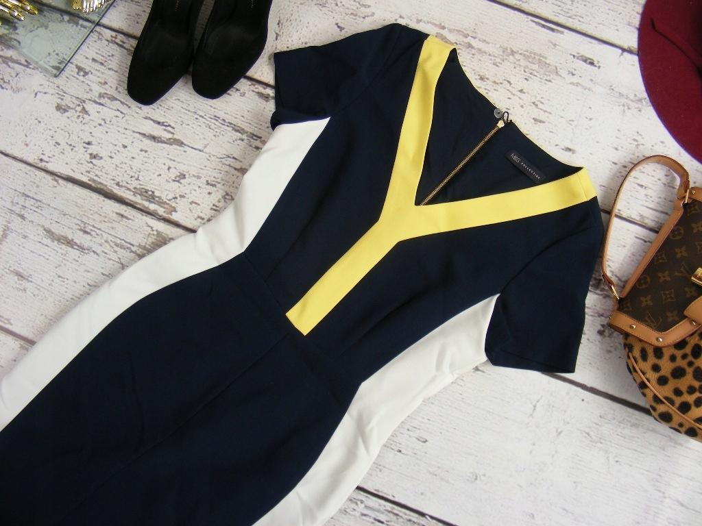 marks&spencer ołówkowa zip sukienka navy 38 M