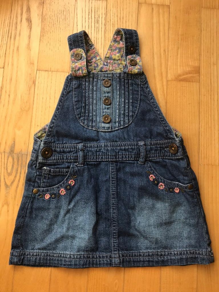 Spódnica na szelkach jeans kolor jeans rozmiar 6 miesięcy