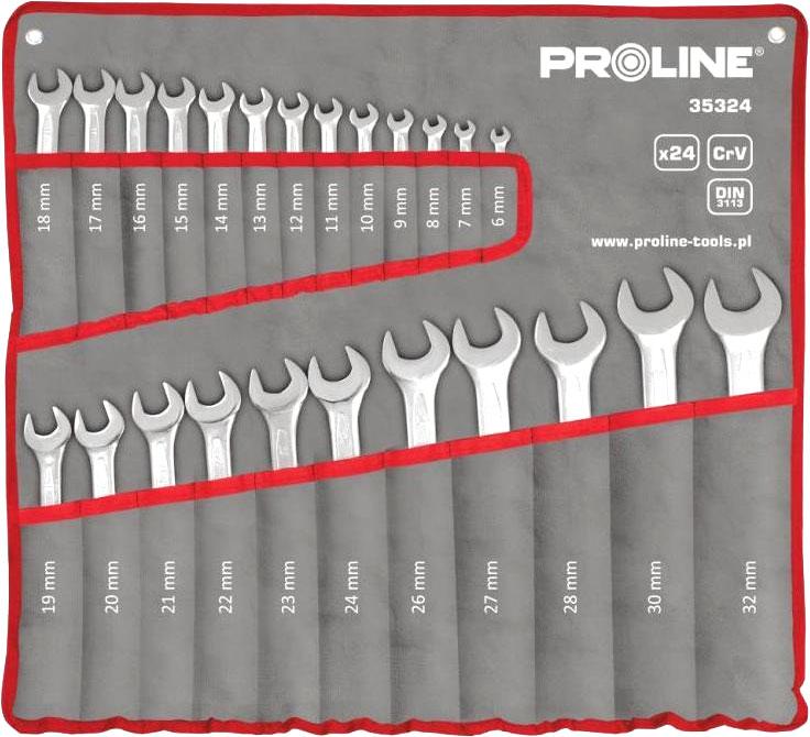 Klucze płasko oczkowe 24 sztuki 6-32mm Proline