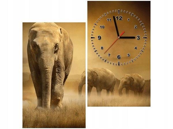 60x60cm Zegar Wędrujące słonie obraz podobrazie dr
