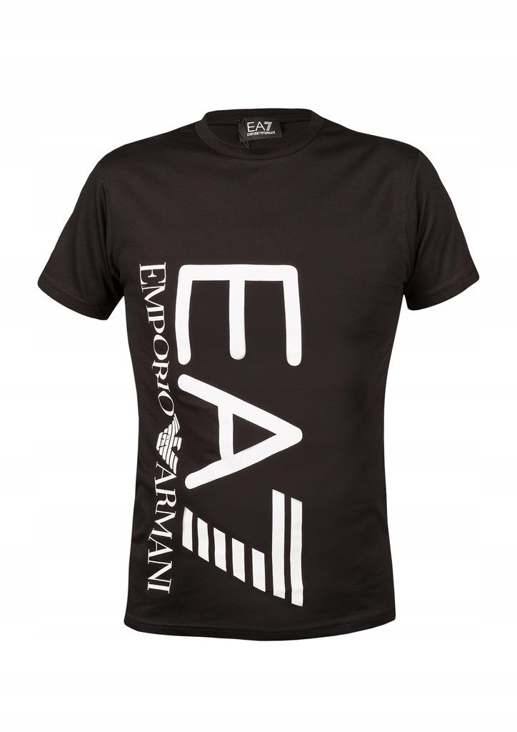 EMPORIO ARMANI T-shirt MĘSKI CZARNY EA7 logo bok L