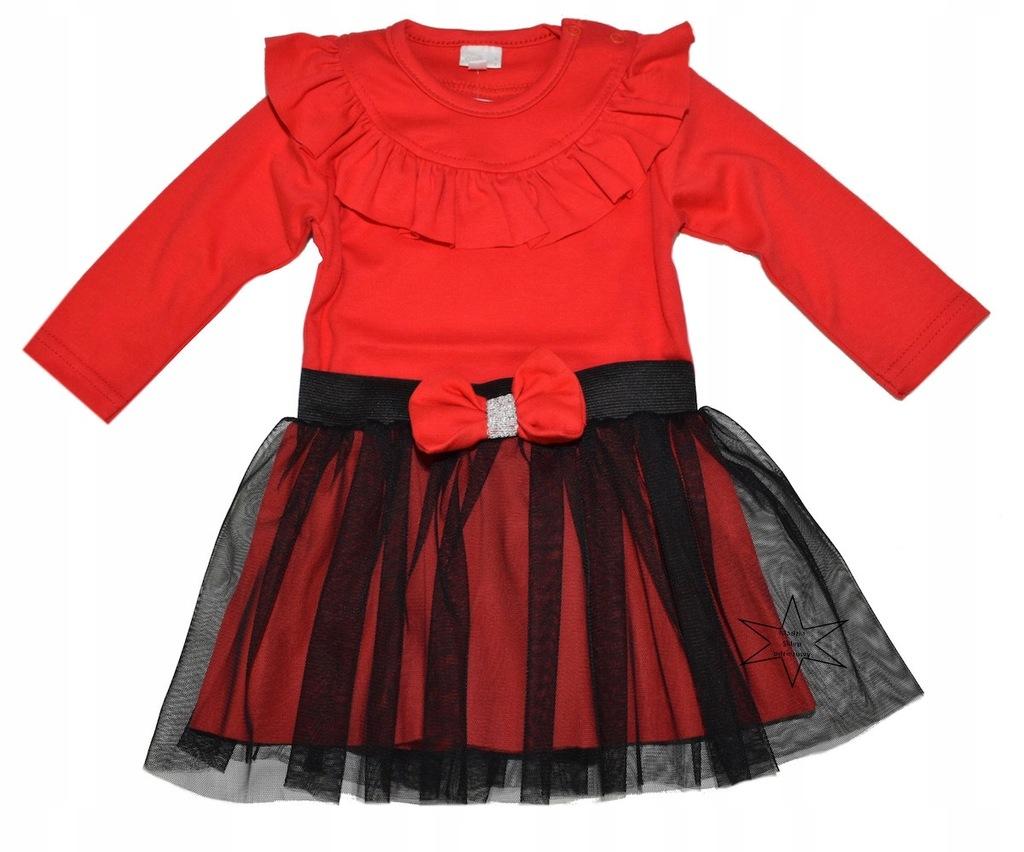 Komplet body czerwone falbanka spódniczka tiul 68