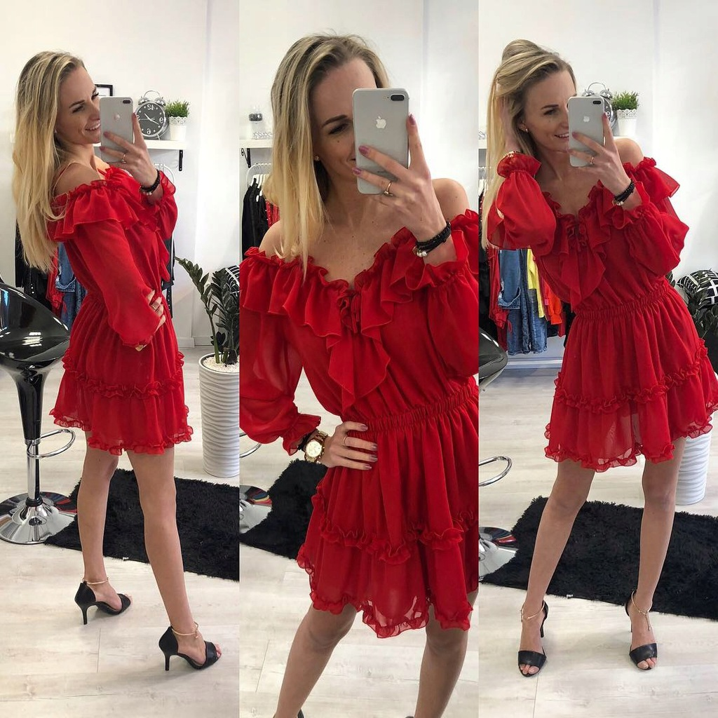 Sukienka HISZPANKA czerwona SZYFONOWA uniwersalna